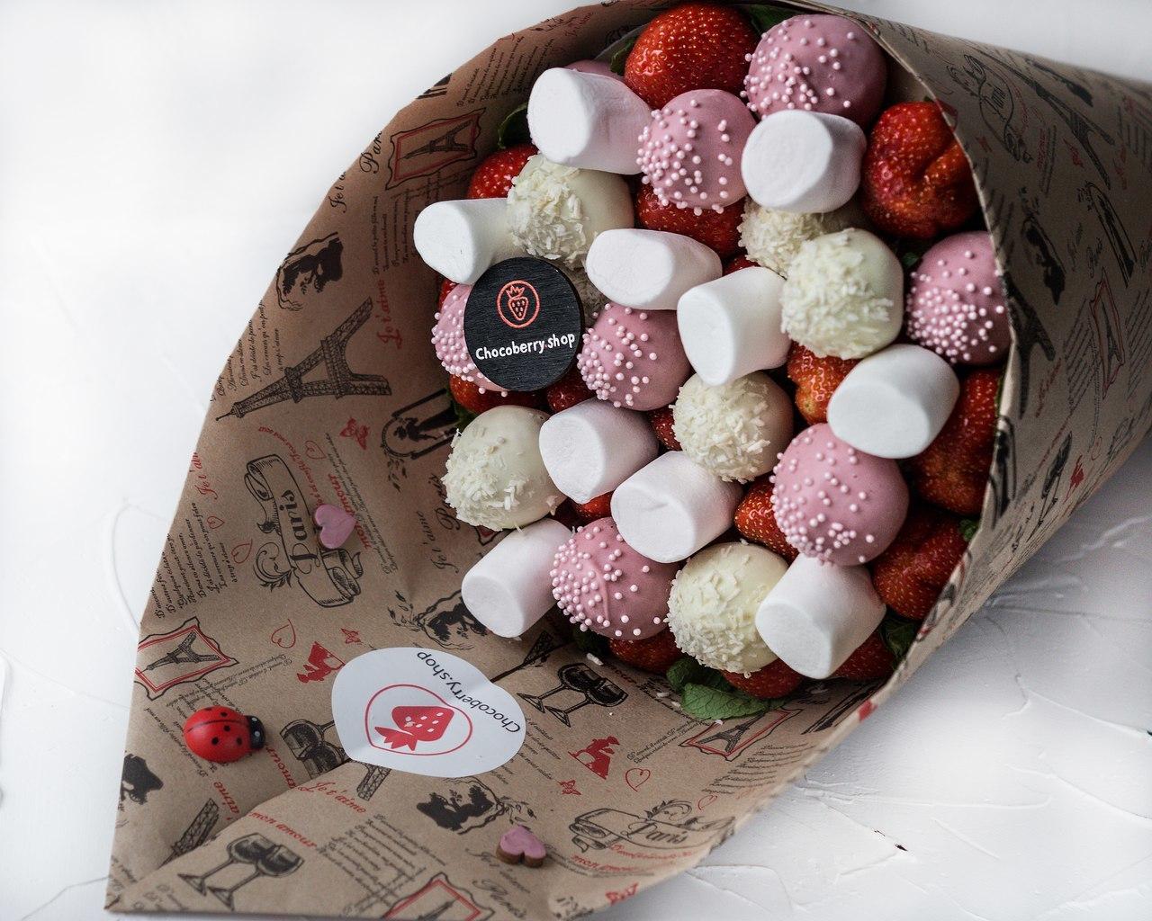 букеты из клубники в шоколаде